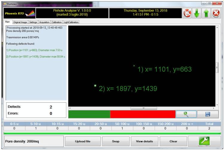 P-PhOD 100 - Pinhole detector and analyzer software 2